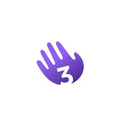 Number three 3 hand palm hello logo icon vector