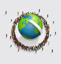 People surrounded the globe 3d isometric vector
