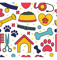 pet seamless patterns backgrounds for pet shop vector image