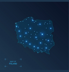 Poland map with cities luminous dots - neon vector