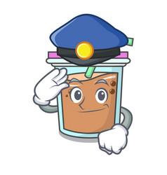 Police bubble tea character cartoon vector