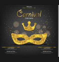 princess carnival golden glitter mask vector image