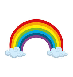 Rainbow and clouds cartoon vector