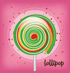 rainbow lollipop pink background vector image