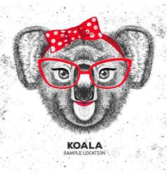 Retro hipster animal koala hand drawing muzzle vector