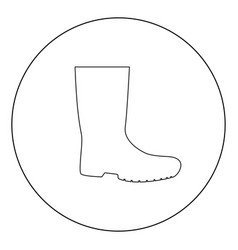 rubber boots icon black color in circle vector image