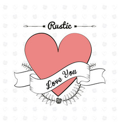 Rustic card material decorative heart image vector