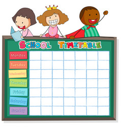 School timetable template with boys and girls vector