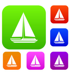 Sea yacht set collection vector