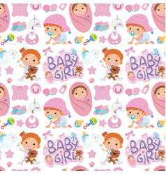 seamless background design with baby in pink vector image
