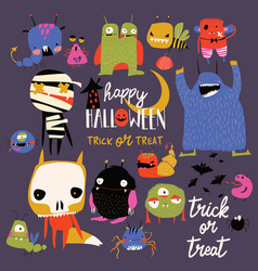 set cute colorful monsters happy halloween vector image