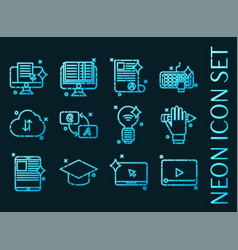 set e-education blue glowing neon icons vector image