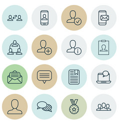 Set of 16 communication icons includes mail vector