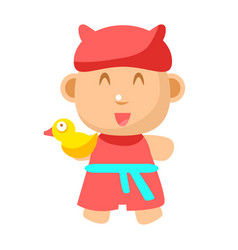 Small happy baby standing in red gown with toy vector