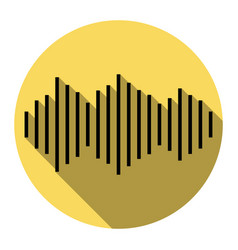 sound waves icon flat black icon with vector image
