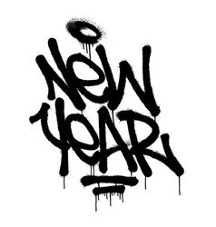 sprayed new year tag graffiti with overspray in vector image