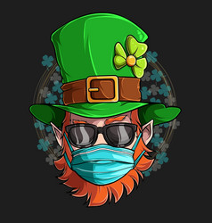 st patrick leprechaun face with sunglasses mask vector image