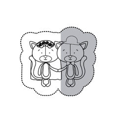 Sticker monochrome with half shadow with couple vector