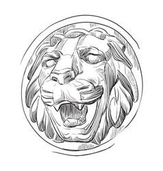 Stone head lion vector