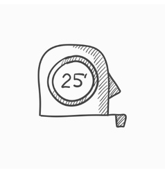Tape measure sketch icon vector