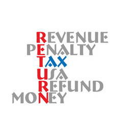 Tax return meaning words vector