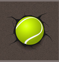 tennis ball and cracked background vector image