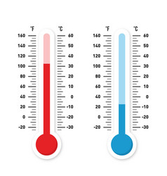 thermometers measuring heat and cold temperature vector image