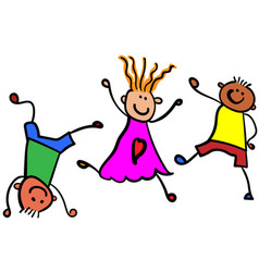 Three playing children color vector