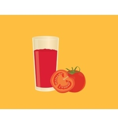 Tomato smoothie juice with fruit and a glass of vector