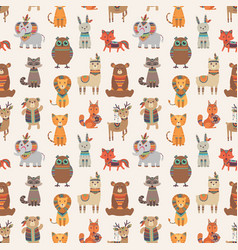 Tribal animal seamless pattern ethnic style vector