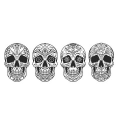 vintage mexican sugar skulls set vector image