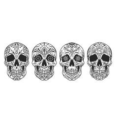 vintage mexican sugar skulls set vector image