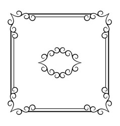 Vintage square frame with swirly corners vector