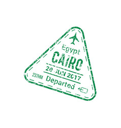Visa stamp cairo airport departed country sign vector
