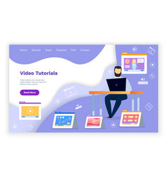 Website with video tutorials online learning vector