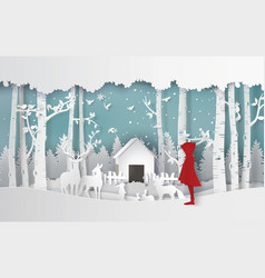 winter season with the girl in red coat vector image
