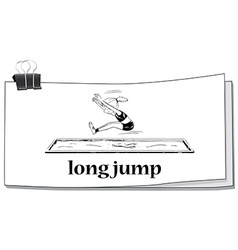 Woman doing long jump vector
