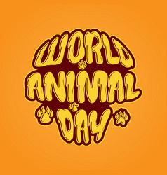 world animal day 4 october emblem vector image