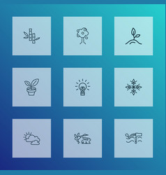 world icons line style set with fauna cloudy vector image