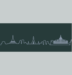 yangon single line skyline vector image