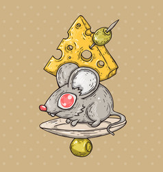 cartoon mouse with cheese and olives cartoon vector image vector image