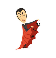 count dracula and flying bats vampire in suit and vector image