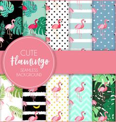cute retro seamless flamingo pattern collection vector image