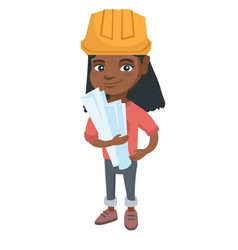 little african engineer girl holding paper plans vector image vector image