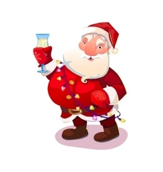 Santa with wine glass vector image vector image