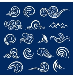 Set of isolated wave icons vector image vector image
