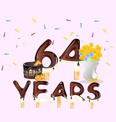 64 years happy birthday card vector image