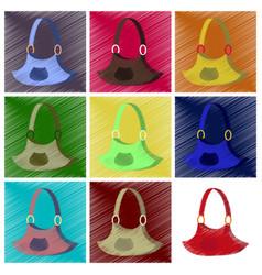 Assembly flat shading style icons clothes handbag vector