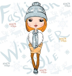 beautiful fashion girl in winter vector image vector image