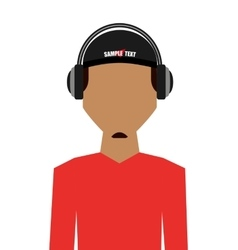 Casual young man with headphone isolated icon vector